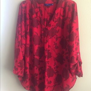 Apt 9 Red and Black Long Sleeve Blouse